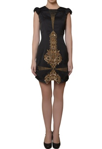 black-embroidered-short-dress