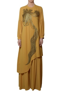 ochre-yellow-asymmetric-kurta