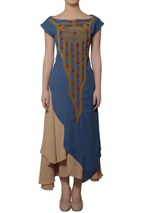 beige-blue-asymmetric-dress