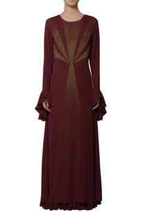 burgundy-brown-gown-with-ruffle-sleeves