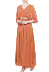 tangerine-orange-pleated-gown