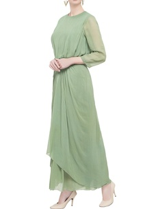 green-double-layered-georgette-dress