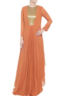 orange-georgette-flowy-gown