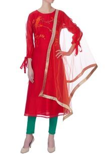 red-chanderi-embroidered-kurta-set