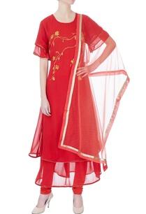 red-double-layer-kurta