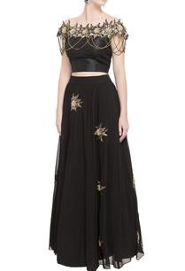 black-raw-silk-blouse-flared-lehenga