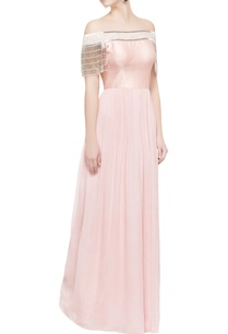 light-pink-off-shoulder-tassel-gown
