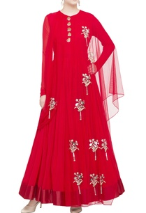 red-georgette-silk-anarkali