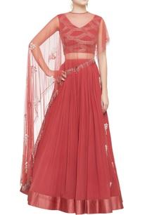 salmon-pink-cape-blouse-lehenga