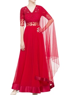 red-sequin-embellished-anarkali-set