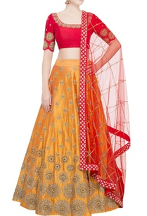 yellow-lehenga-with-red-blouse-dupatta