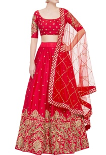 red-raw-silk-sequin-lehenga-set