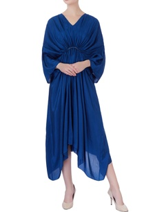 blue-habutai-silk-pleated-dress