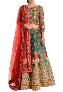 green-red-floral-lehenga-set