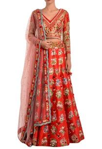 red-raw-silk-lehenga-set