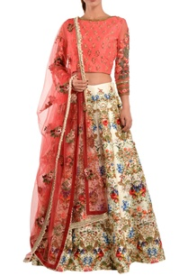 peach-floral-sequin-lehenga-set