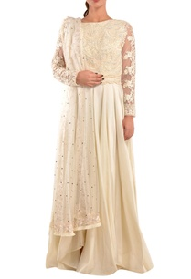 white-chanderi-flared-anarkali-set
