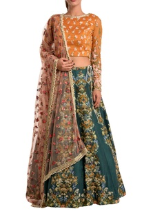 green-lehenga-with-silk-blouse-dupatta