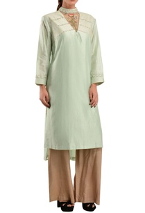 green-chanderi-high-collar-kurta