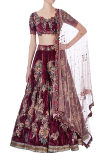 burgundy-embellished-lehenga-set