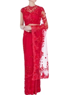 red-floral-lace-sari-with-blouse