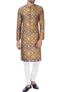 brown-printed-raw-silk-kurta-with-churidar
