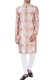 pink-orange-rose-motif-kurta-churidar