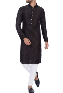 black-digital-printed-kurta-churidar