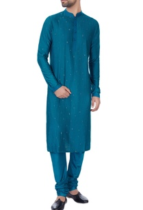 blue-pleated-style-katan-kurta-set