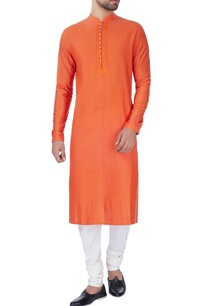 orange-pleated-texture-kurta-set