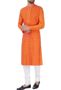 orange-embroidered-kurta-churidar-pants