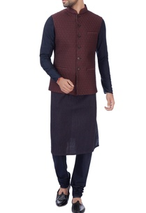 burgundy-brown-floral-nehru-jacket