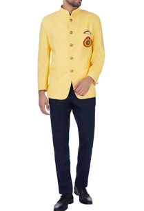 bright-yellow-crest-nehru-jacket
