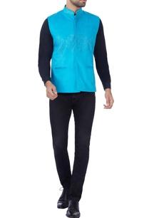turquoise-blue-laser-cut-nehru-jacket