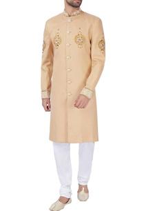 beige-brocade-silk-sherwani