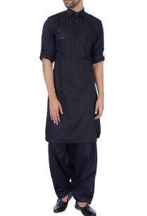 black-silk-pathani-kurta-set