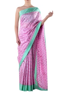 pink-crepe-sari-with-blouse-piece