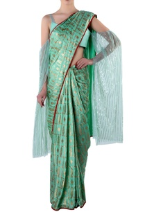 green-foil-print-sari-blouse-piece