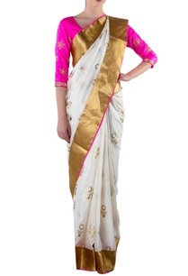 white-gold-sari-with-blouse-piece