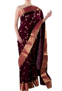 plum-gota-sari-with-blouse-piece