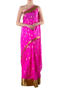 pink-one-shoulder-sari-with-blouse-piece