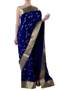 blue-gota-sari-with-blouse-piece