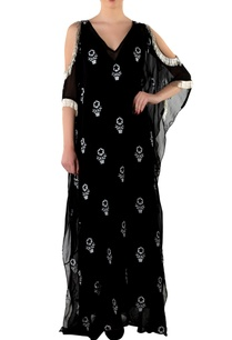 black-printed-kaftan-with-slip