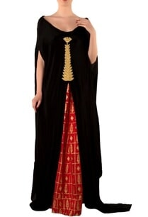 red-golden-grid-maxi-skirt-black-cape