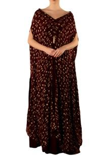 burgundy-warli-print-cape-skirt