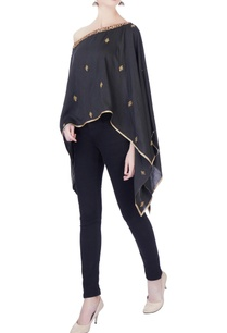 black-embroidered-handloom-silk-cape