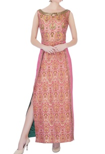 pink-brocade-handloom-maxi-dress