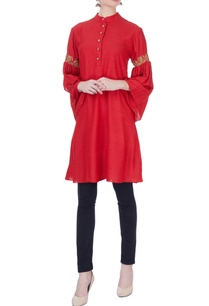 red-embellished-silk-tunic