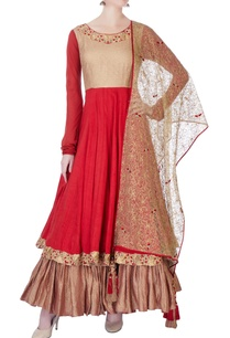 red-raw-silk-anarkali-kurta