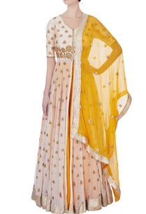 yellow-embroidered-kurta-lehenga-set